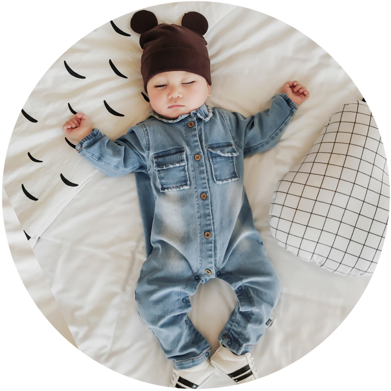 2019 Soft Denim Baby Romper Graffiti Cat Infant Clothes Newborn Jumpsuit Babies Boy Girls Costume Cowboy Fashion Jeans Children