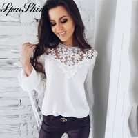 2018 Summer Fashion Lace Blouse Female Stitching Long Sleeved White Chiffon Blouses Loose Casual Hollow Elegant