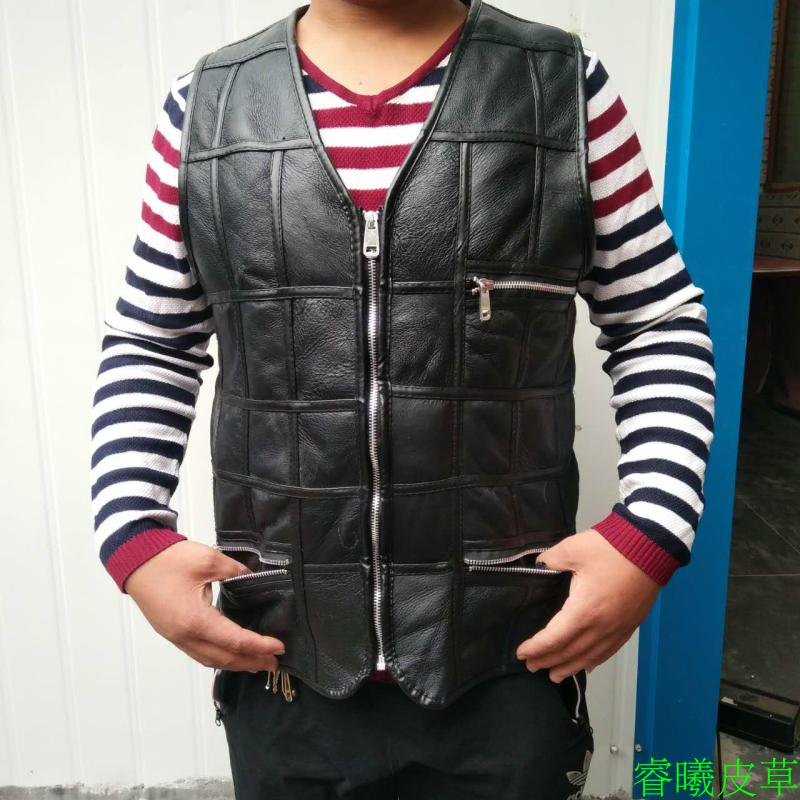 Middle-aged and old real sheep sheared fur vest short style spring autumn winter men's thick warm cotton waistcoat