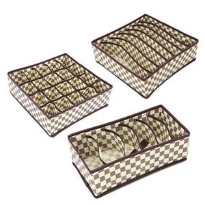 Image 4 - 3PCS Nonwoven Home Storage Box Underwear Organizer Boxs Bra Necktie Socks Folding Container Organizers Various Grid