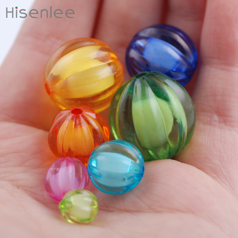 Shape Of Pumpkin 8~20 Millimeter Multi Size Translucent Mixed Color Acrylic Interval Bead DIY Toy Bracelet Making Beads