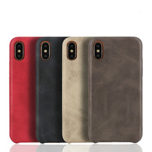 50PCS PU Back Leather Case For iPhone X 6 6s 7 8 Plus Retro Case Cover For iPhone 8 Simple Phone Shells