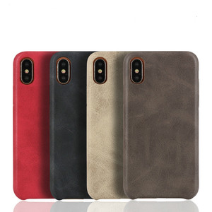Image 1 - 50PCS PU Back Leather Case For iPhone X 6 6s 7 8 Plus Retro Case Cover For iPhone 8 Simple Phone Shells