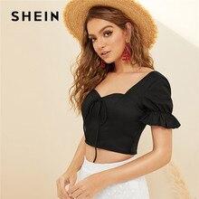 SHEIN arco frontal fruncido a Top 2019 Boho playa cuello negro blusa de verano lindo Slim tops y blusas para mujer