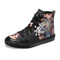 Унисекс японский каракули Для мужчин холст скейтборд обувают Для женщин спортивная обувь студент ходить высокие верхние Скейтбординг Сапо