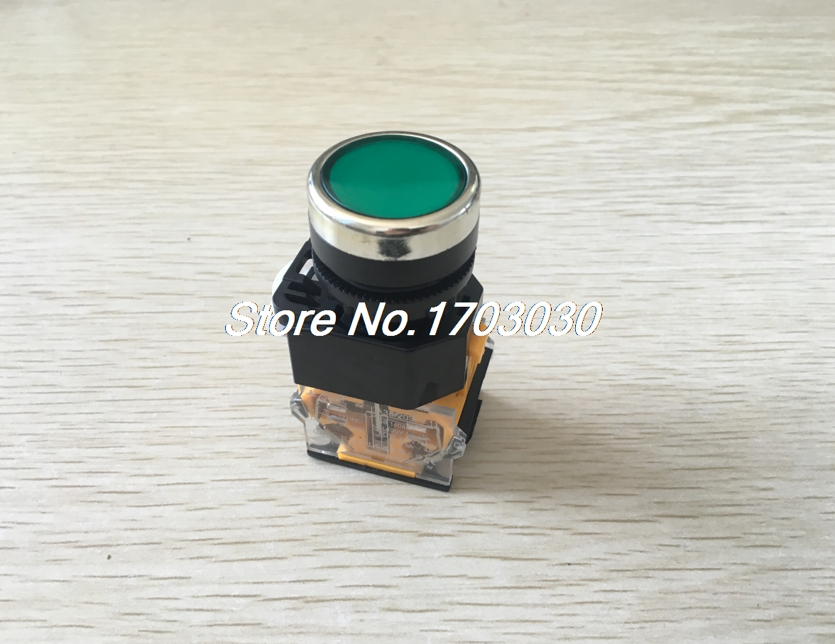 Green Sign Ignition Momentary Press Push Button Switch 22mm 1 NO NC 10A 400V AC 10pcs xb2 ea121 131 142 151 161 flat head economy self resseting momentary colorful push button switch 10a no nc 22mm