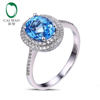 Caimao Jewelry 14k Gold Natural Diamond Flawless Blue Topaz Engagement Ring