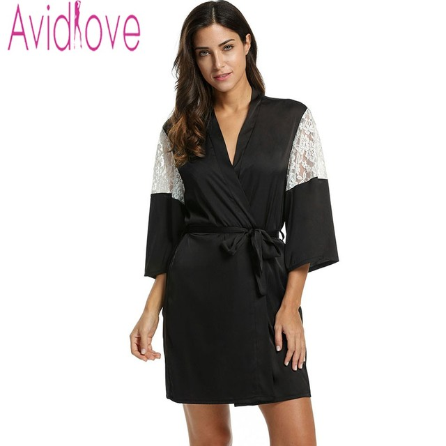 25ea16b880 Avidlove Women Sexy Robe Lace Patchwork 3 4 Sleeve Sleeping Robe Bathrobe  Lace-up