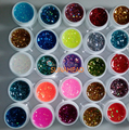 New 25pcs Mix Color Nail Gel Shimmering Powder Nail Art Builder Glitter UV Gel E-6