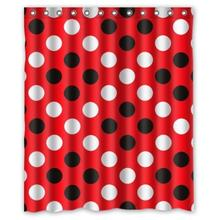 Black And White Polka Dot Red Custom Bathroom Curtain Shower Waterproof Polyester Fabric