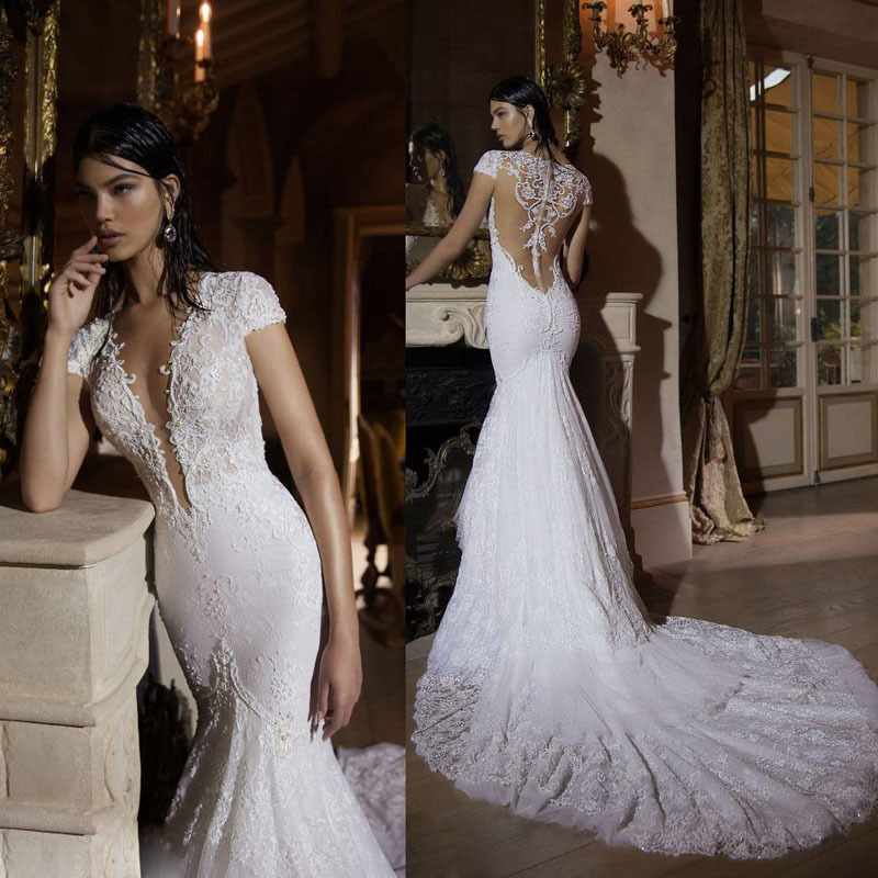 2016 Lace Mermaid Mother Of The Bride Dresses Groom: Sexy Covered Back Wedding Dress Luxury Pearls Lace Wedding