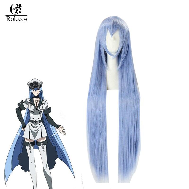 Rolecos убийца Акаме аниме Косплэй Головные уборы esdeath Косплэй Синтетические волосы esdese длинные синие 100 см волос