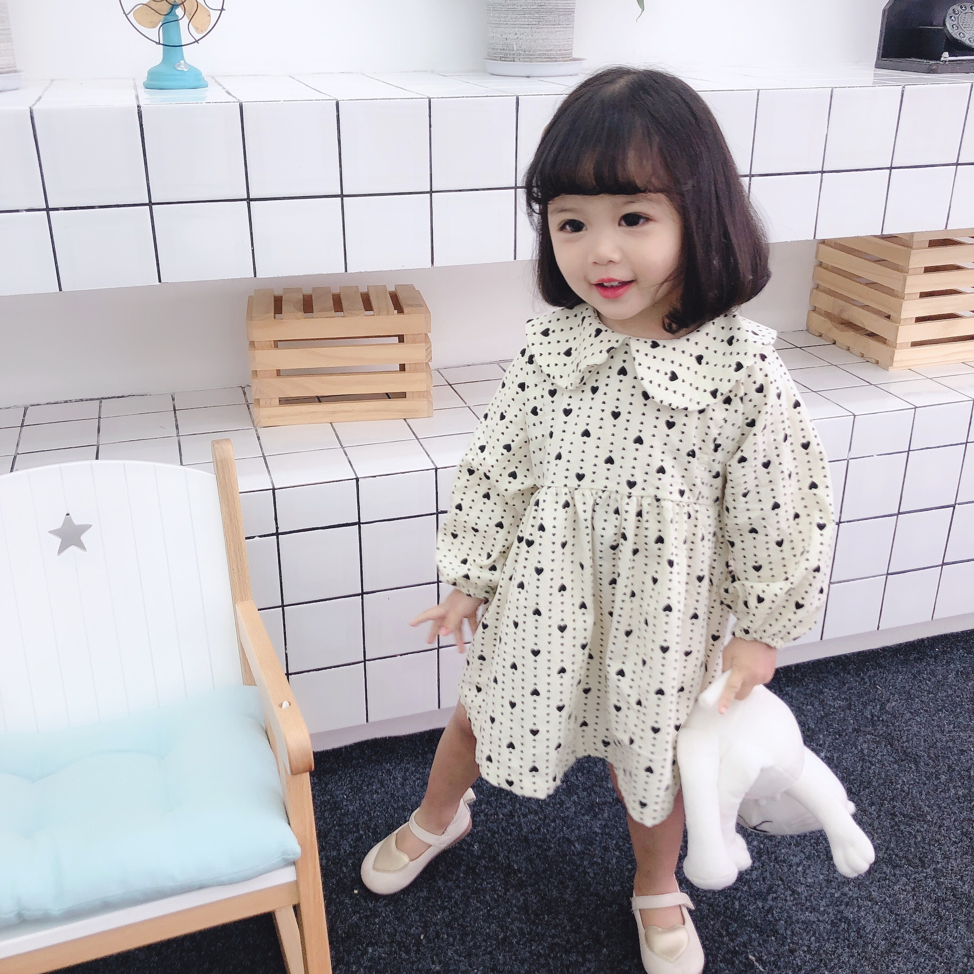 Spring Corduroy   Dress   Baby   Girl's   Doll Collar Fashionable Korean Version   dress   Baby   Girl   Clothes   Flower     Girl     Dresses