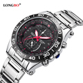 LONGBO Military Men Stainless Steel Band Sports Quartz Watches Dial Clock For Men Male Leisure Watch Relogio Masculino 80008