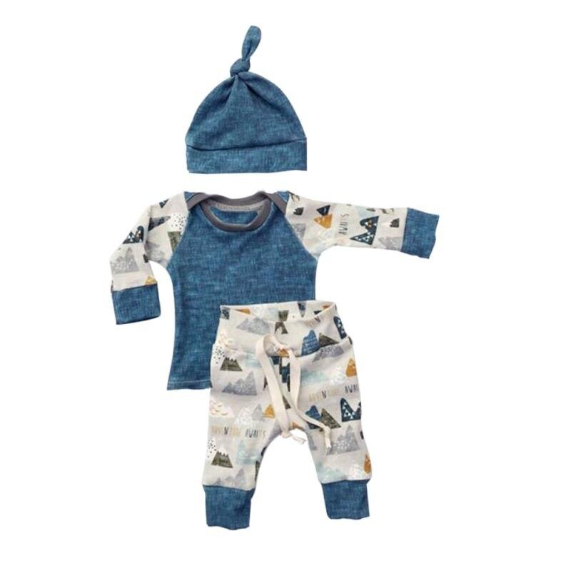 3 STÜCKE Baby-kleidung Neugeborenen Outfits Frühling Jungen Blau Baumwolle Langarm Jungen Set Shirt Hosen Stellten Beiläufige Jungen kleidung