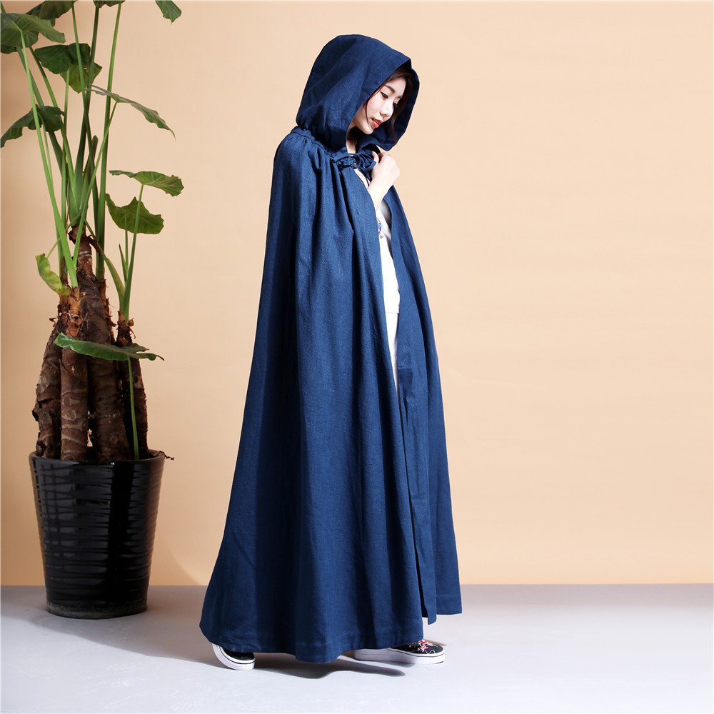2019 Spring and Autumn Women's Trench Linen Coats Fashion and Comfortable Loose Solid Color Hooded Trench Cloak D214
