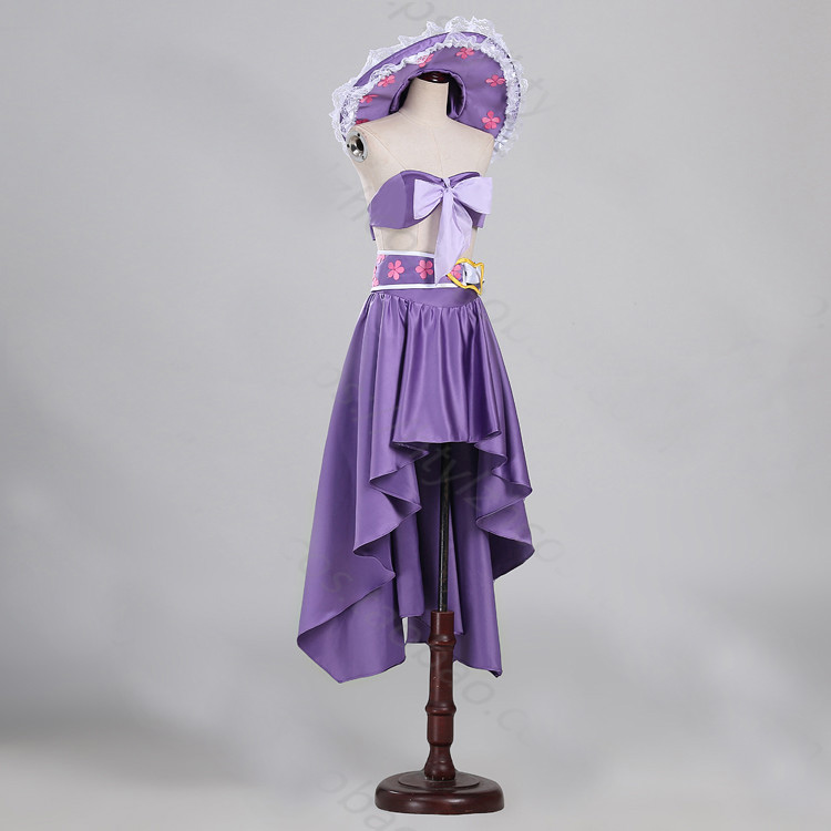 100%real purple skirt with hat, ONEPIECE cartoon ladies cosplay