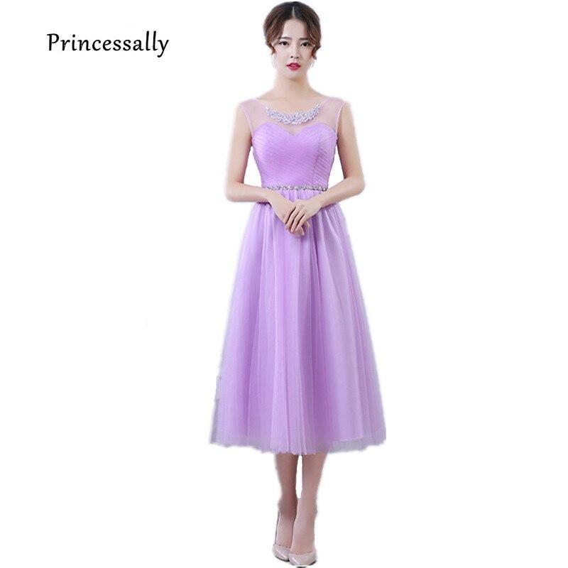 Lilac Bridesmaid Dresses Tea Length Tulle Sweetheart Beading Lavender Dusty  Rose Bridesmaid Elegant Women Prom Party 0c313935de60