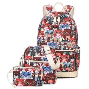 Image 2 - 2020女性動物フクロウ印刷バックパックキャンバスbookbagsスクールバックパック十代の少女bagpack backbag