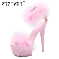 2018 women shoes 15.5cm thin heels feather sandals high heels women shoes plus size color sexy pumps hairs size 34 39