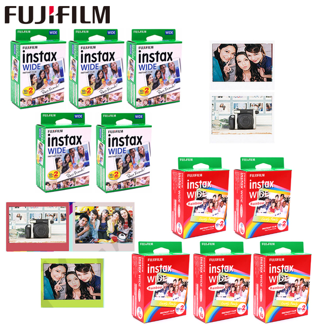 10 100 Sheets Fujifilm Instax Wide White edge + Rainbow + Black Films for Fuji Instant Photo paper Camera 300/200/210/100/500AF