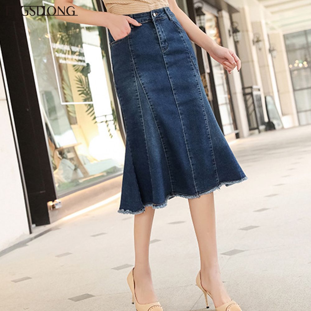 FTGSDLONG XS-8XL Plus Size Denim Skirts for Women Pocket High Waist Trumpet Skirt 2019 Fashion Solid Knee Length Skirt Casual