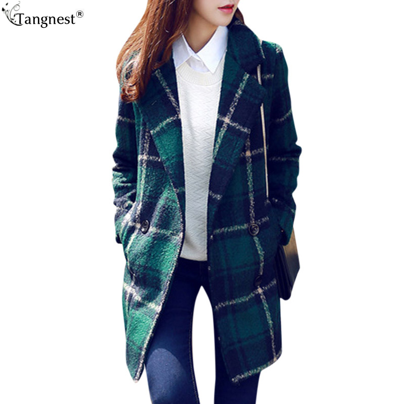TANGNEST Plaid Pea Coat 2017 New Jacket Women Green Blended Long ...