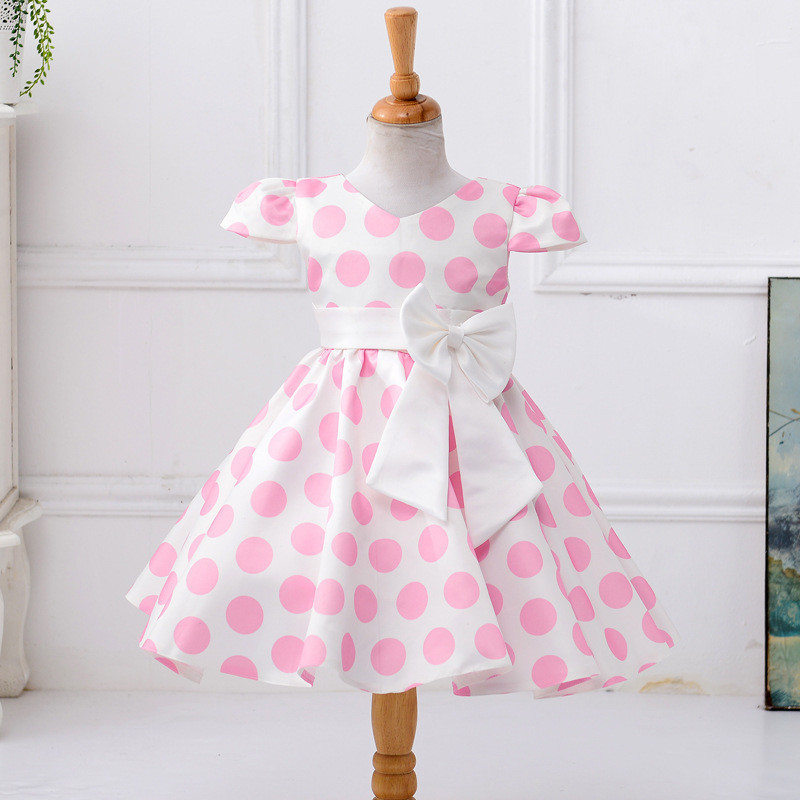 Fashion Polka Dot Bow Girls Dress V-Neck Bowknot Blet Party Princess Dresses Knee Length Formal Child Vestido for 8 Years