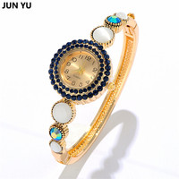 JUNYU New Fashion Bracelets Bangles Watches Sweet Gold Plated Full CZ Diamonds Heart And Opal Quartz