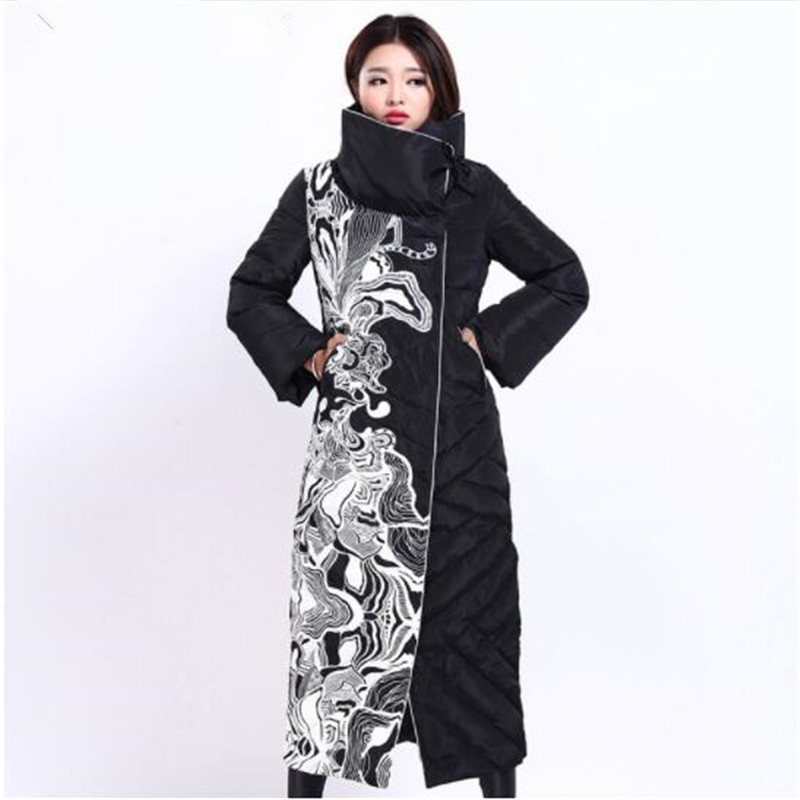 Winter Women's Jacket Fashion Female X-Long Print Slim Thick White Duck   Down     Coat   Elegant European Style Warm Overcoat