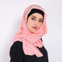 Quick Sell Through Muslim Fashion Scarf Pearl Chiffon Hot Diamond Turban Hui Solid Color Scarf Sequins