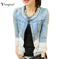 TANGNEST Casacos Feminino 2017 Jeans Jacket Women Patchwork Lace And Beading Elegant Denim Ladies Autumn Jackets Coat WWJ084