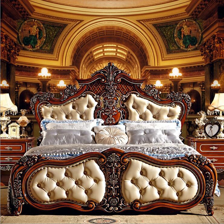 Современные европейские твердой древесины кровать мода резные 1.8 м кровать французский мебель для спальни 6592
