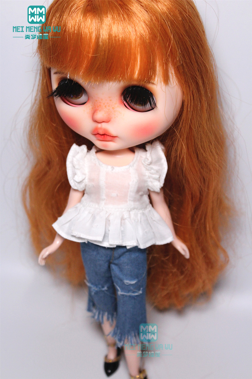 1PCS Blyth Accessories Fashion White Shirt, Shredded Jeans For Blyth Azone 1/6 Doll Accessories
