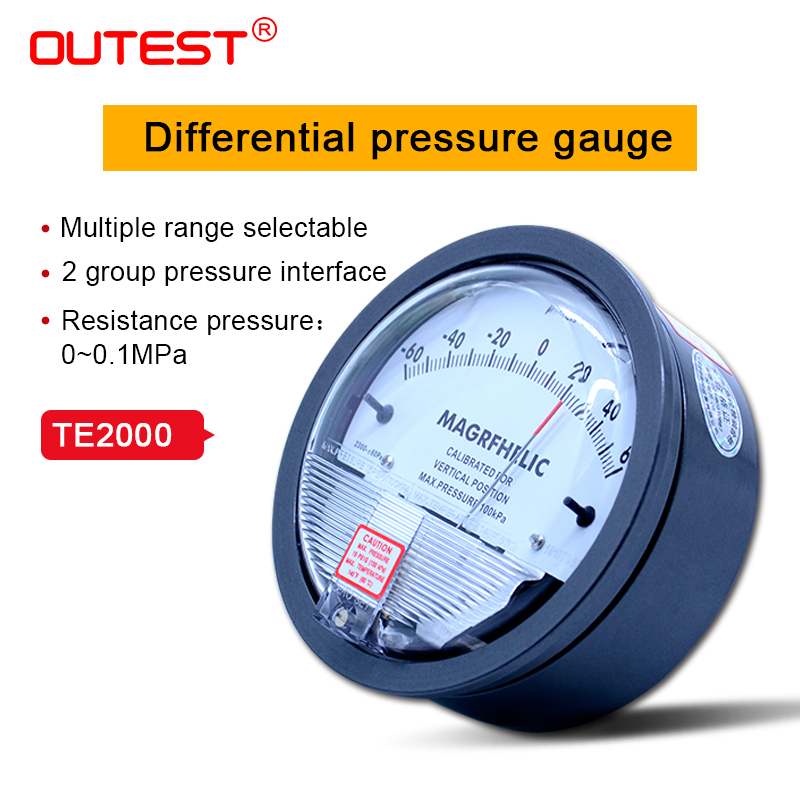 +/-60pa Digital Analog differential pressure gauge manometer negative pressure measuring instruments with high precision table