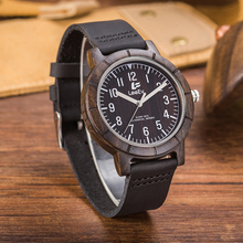 LeeEv EV1875 Mens Handmade 100% Cow Hide Genuine Leather Strap Bamboo and Sandalwood with Quartz Movement Analog Wood Watch