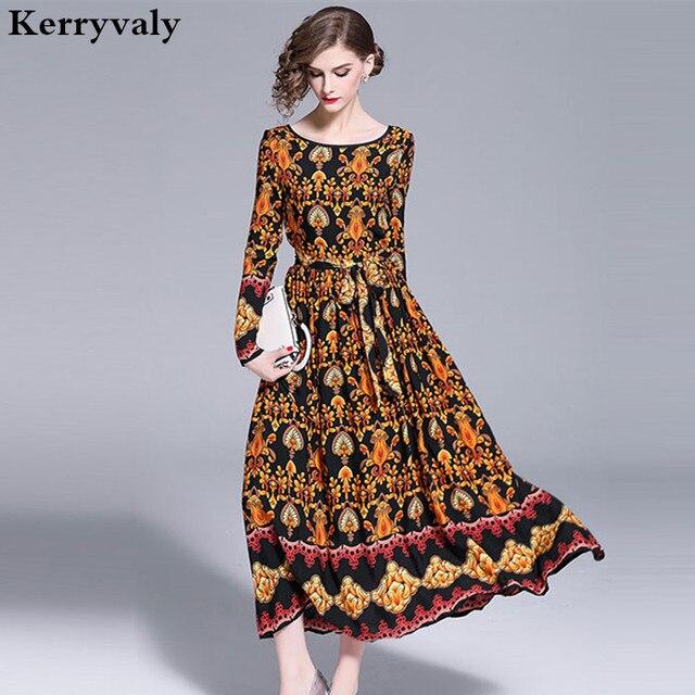 526d266473e Robe Vintage Print Long Sleeved Runway Maxi Dress Robe Femme Hiver 2018  Large Pendulum Long Party Dress Vestido Longo K8812