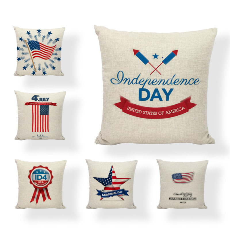 <font><b>July</b></font> <font><b>4</b></font>, 2019 Independent Festival Cushion Cover American Festival Party Gift Style Pillowcase Furniture Sofa Personality <font><b>Decor</b></font> image