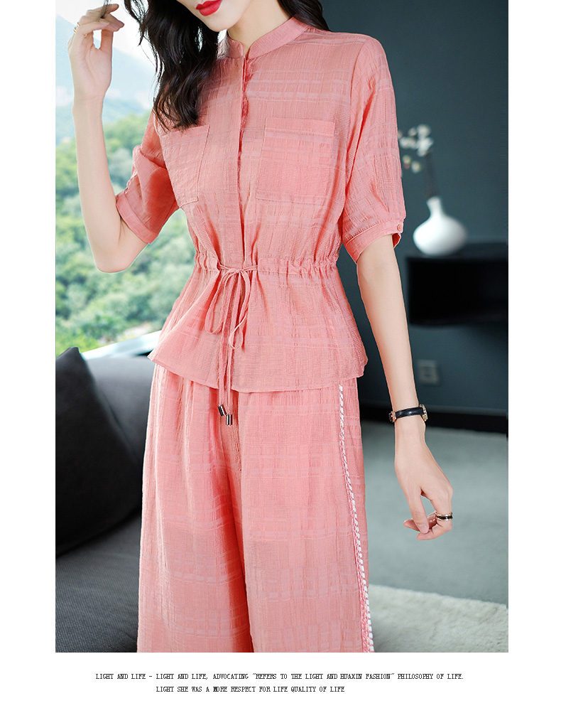 2019 Summer Two Piece Sets Outfits Women Blue Pink Short Sleeve Tunics Tops And Wide Leg Pants Suits Office Elegant 2 Piece Sets 50