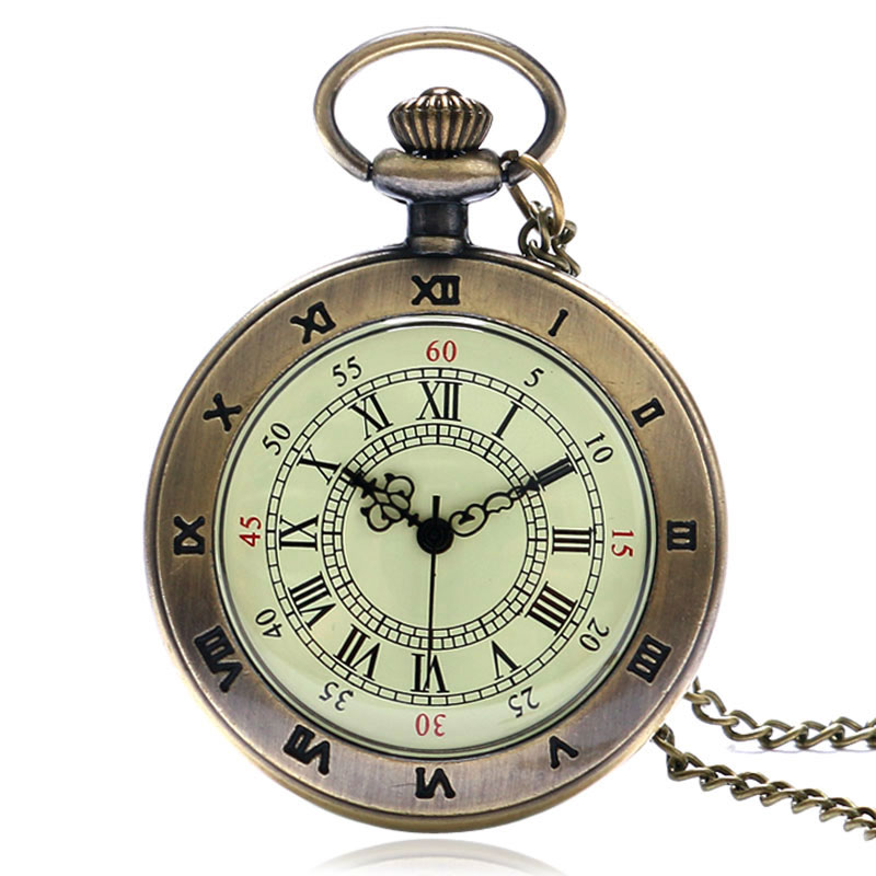 Classical Roman Number Case Dial Bronze Pendant Fob Pocket Watch With Necklace Chain For Men Women Reloj De Bolsillo