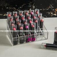 AILA Acrylic Lipstick Organizer Transparent Cosmetic Makeup Organizer 24 Space Storage Clear Case Display Rack Holder