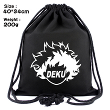 Unisex  My Hero Academia drawstring bags black canvas supply llama Draw string bag shoulder bag backpack