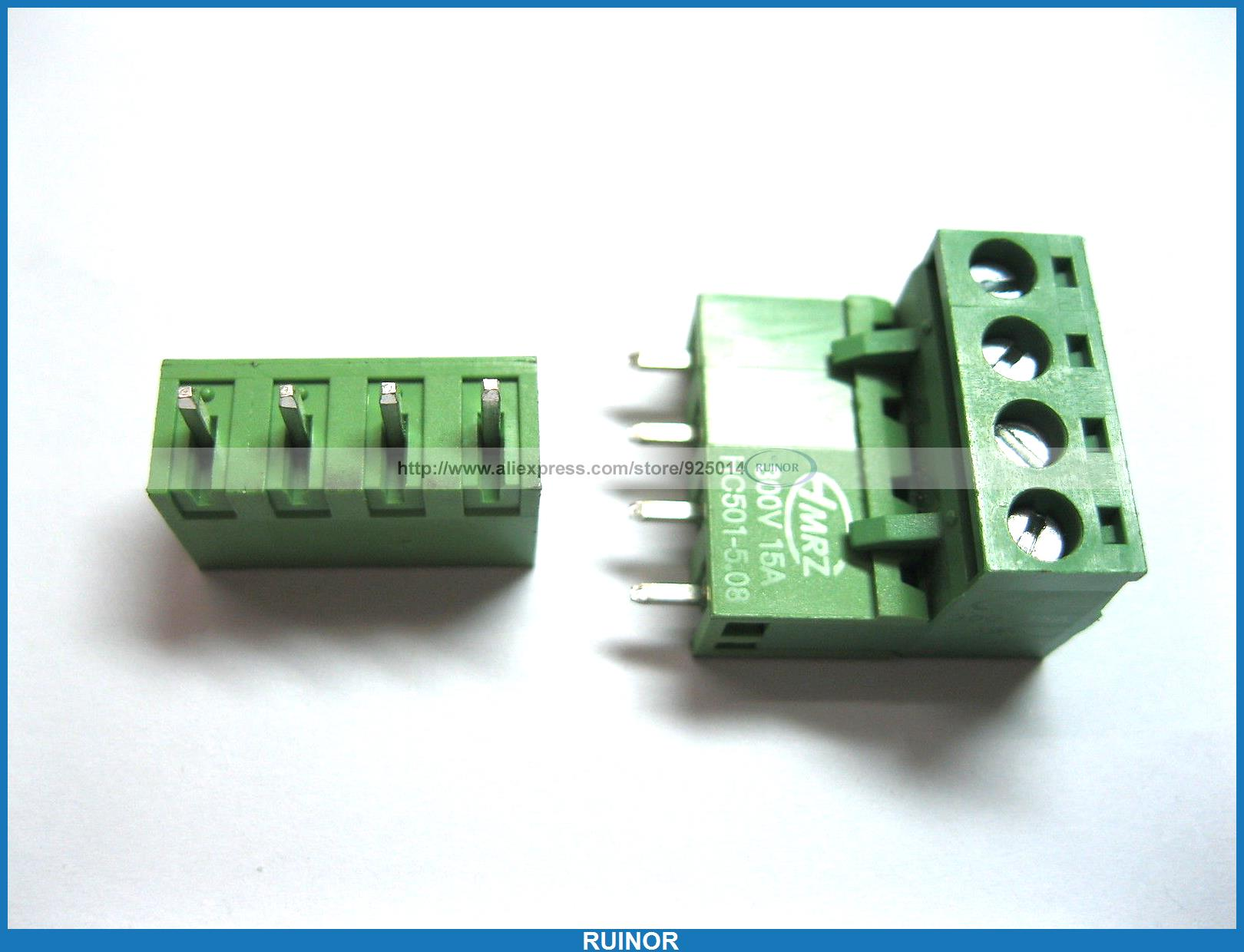50 Pcs 5 08mm Straight 4 Pin Screw Terminal Block Connector Pluggable Type Green 1825242[pluggable terminal blocks 14 pos 5 08mm pitch thru h mr li