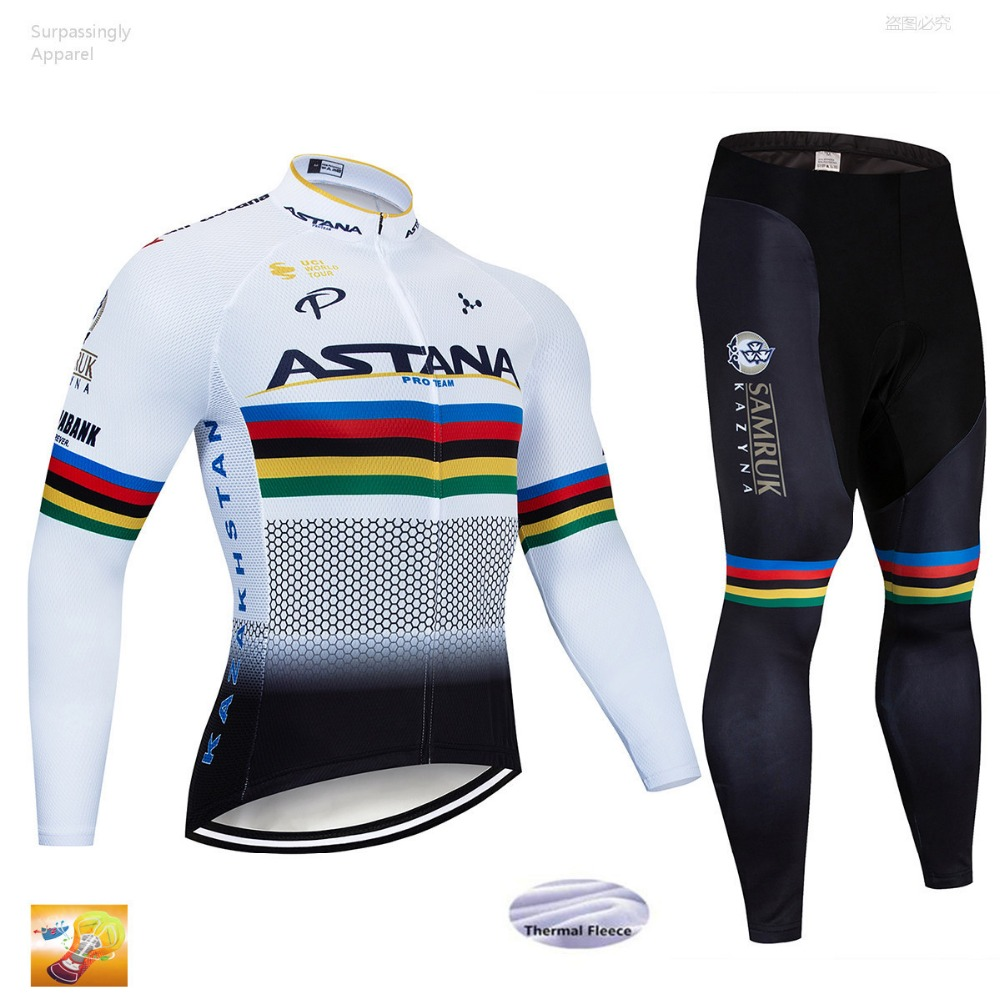 Winter 2019 Team ASTANA Jacket 16D Pad Bike Shorts Ropa Ciclismo Men Thermal Fleece Cycling Jersey