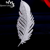 Queen Lotus Fashion Feather Brooches for Women Silver Color Wedding Jewelry AAA Zircon Leaf Brooch Pins