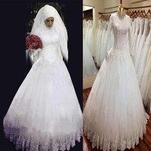 Real Sample High Neck Long Sleeve Dubai Muslim Wedding Dress With Hijab 2016 Wedding Gowns Dantel Gelinlik Dubai Kaftan Abiye