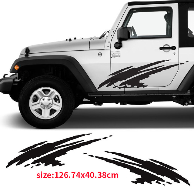 Automobile 2pcs mud splash decal vinyl sticker graphic stripe for jeep wrangler dw 0089 car