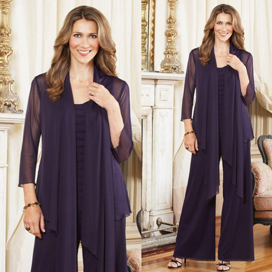 Elegant Wedding Pant Suits - Elegant plus size mother of the bride dresses with jacket chiffon pant suit for women wedding