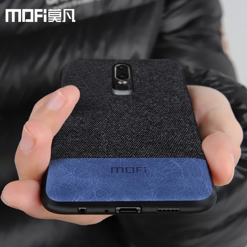 oneplus 6 case cover one plus 6 back cover silicone edge men business fabric shockproof case coque MOFi original 1+6 case