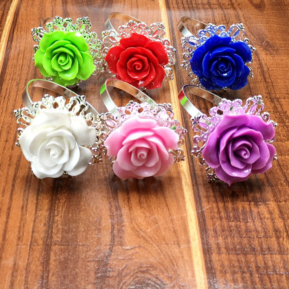 25 Teile Los Lavendel Rose Serviettenringe Silber Hoops Romantische